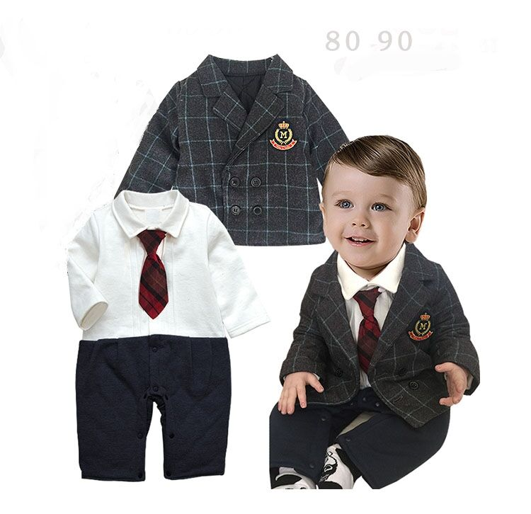New Baby Boy Clothing Set Thick Warm For Autumn Winter Gentleman Long Sleeved Suit Romper+plaid Jacket Kids Infant Outfits<br><br>Aliexpress