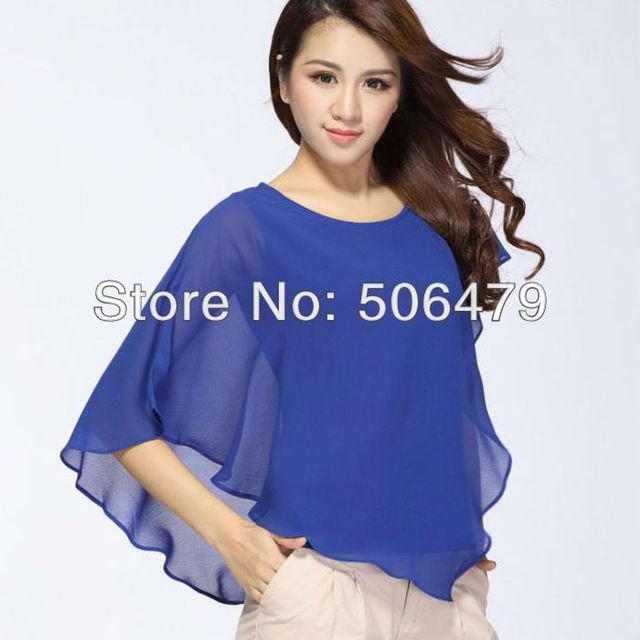 Hot 2015 New Fashion Trend Plus Size Chiffon T Shirt Women Clothing Summer Batwing Sleeve Tops