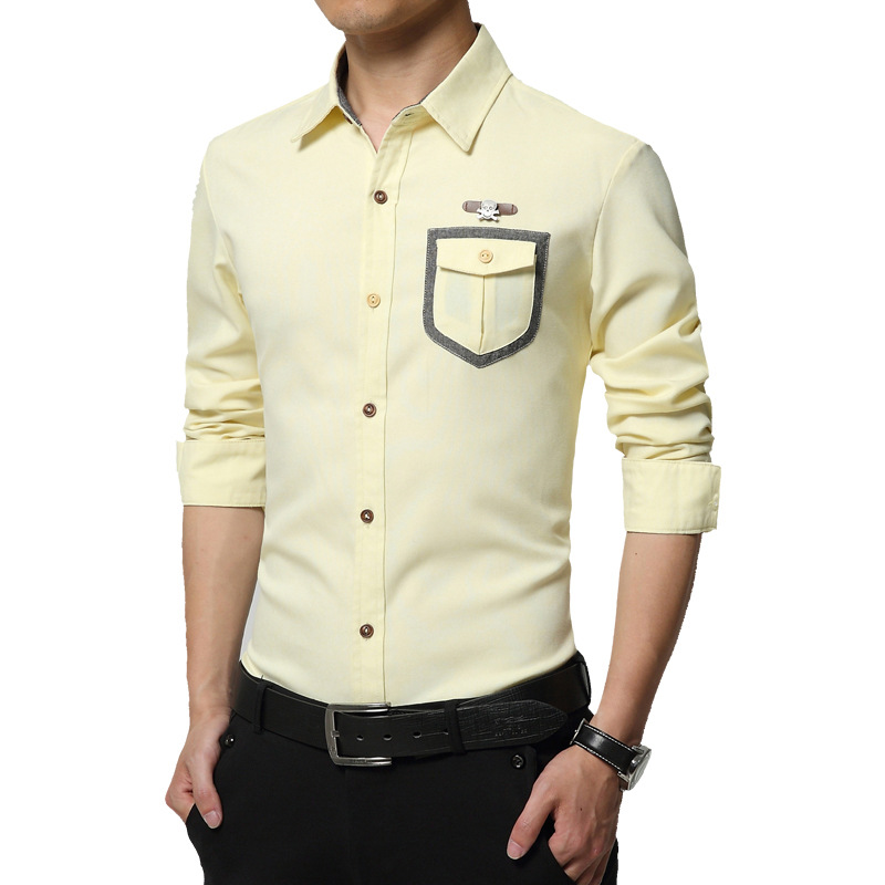 New 2016 fashion solid plus size men shirt slim fit long for Mens dress shirts sizes