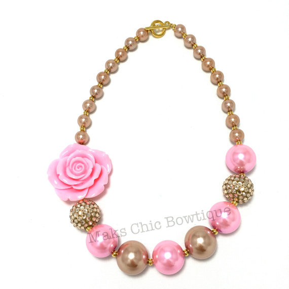 Pink and Gold kids Chunky Pearl Necklace baby girls Jewelry Acrylic pearls and Shambhala beads Princess chunky necklace(China (Mainland))