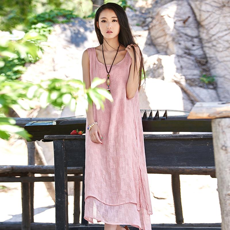 2017 spring factory wholesale cotton dress new silk Vintage Art pure hemp women clothing ladies dress 2138(China (Mainland))