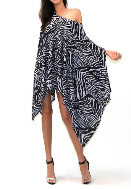 Новинка женщины зебра печать свободный Большой размер 3XL пончо платье осень нерегулярные рукава летучая мышь косой короткий ну вечеринку платье MK589