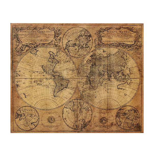 Kraft Paper Retro 1746 World Map Poster 62x52cm Matte Brown Paper Map Of The Globe Old World Large Size Vintage Style(China (Mainland))