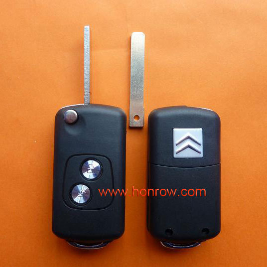Citroen 2 button flip remote key fob blank with VA2-307 key blade with free shipping