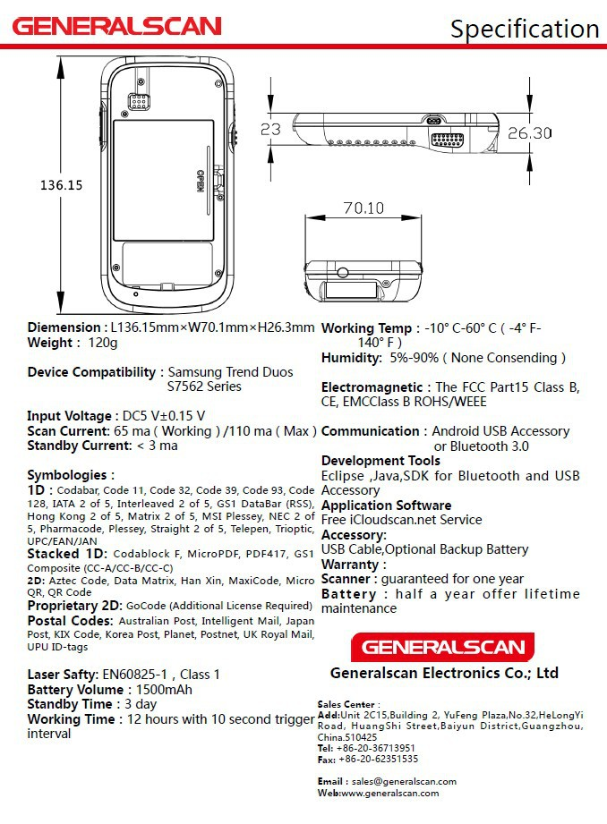 Promotions!!! Generalscan SL2500S75 QR Code Scanner with Brand New Smartphone for Data Collection