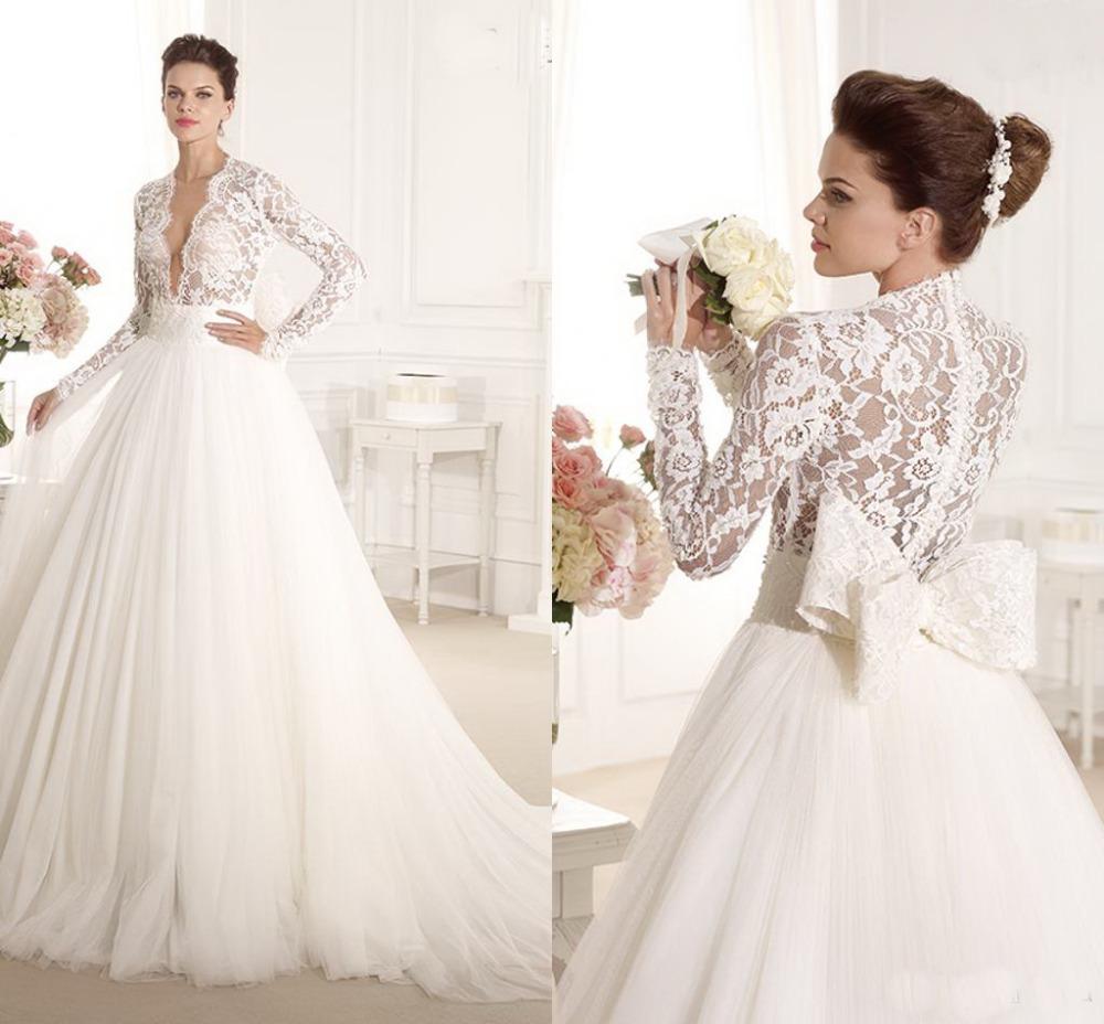 2014 Luxuriously Elegant A Line Wedding Dresses V Neck
