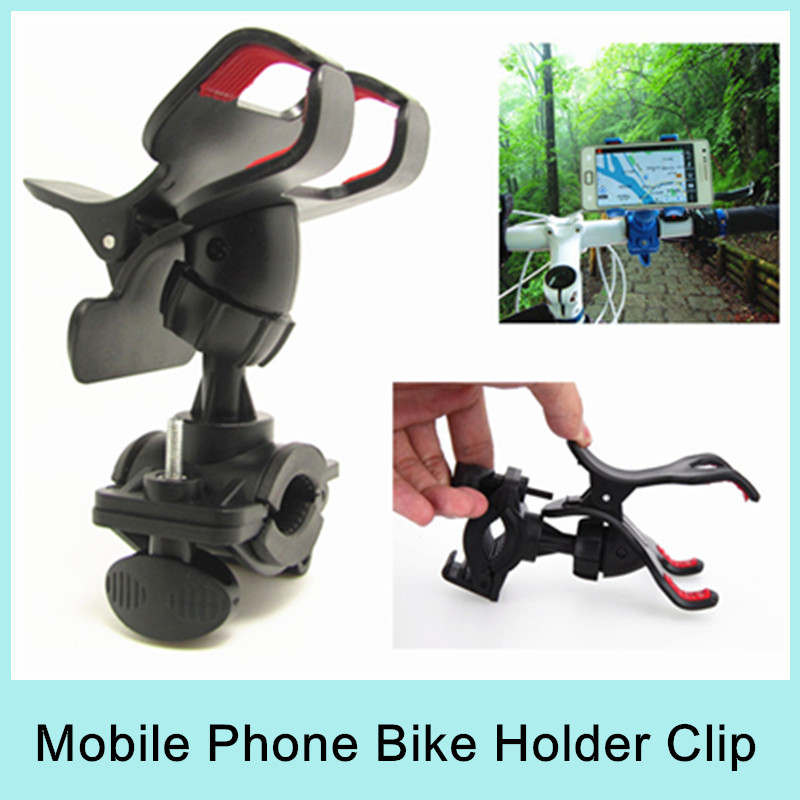 HOT ABS Bicycle Motorcycle Dual Clip Bike Holder Stand Mount Cradle Mobile Phone MP4 GPS Navi (Black) 2015 - Shenzhen Produx International Trade Co.,Ltd store