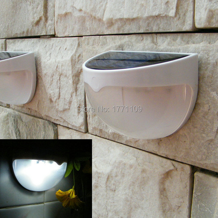free shipping Solar Power Panel 6 LED Fence Gutter Light for Outdoor Garden Wall Lobby Pathway Lamp Cold/Warm White(China (Mainland))