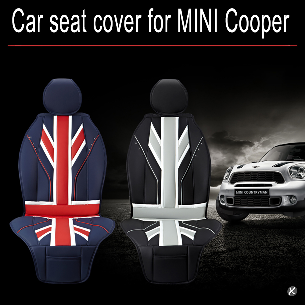 car seat covers full pu leather luxury union jack uk flag for bmw mini cooper f56 f55 r60 r59. Black Bedroom Furniture Sets. Home Design Ideas