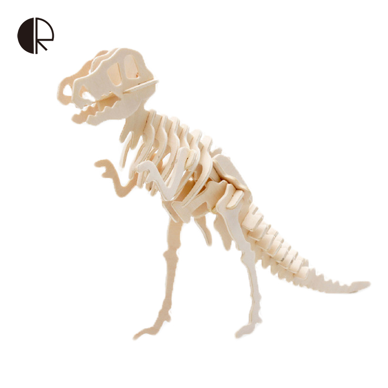 Puzzles Wooden Dinosaur 3D Wooden Educational Animal Jigsaw Puzzle Toys DIY Handmade Wooden Puzzles Gift For Children HT2955(China (Mainland))