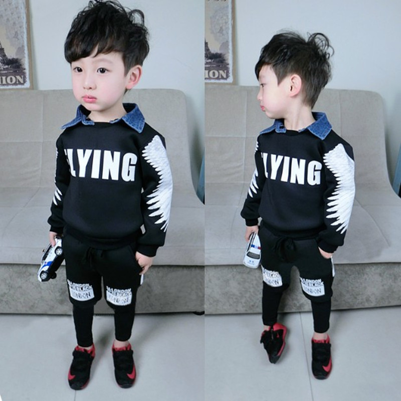 1-6 Age Baby Boys Clothing Sets 2016 New Spring Winter Boy Fashion Wings Thicken Velvet Shirts Pants Kids 2 Pieces Clothes D74S(China (Mainland))