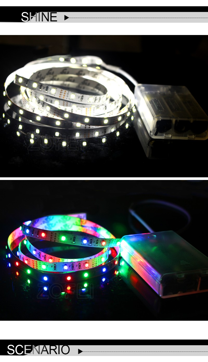 Good Quality DC5V LED Strip Light 60Leds 3528 1m/2m/3m/4m/5m With Battery Box Multi Color Home Party TV Decoration