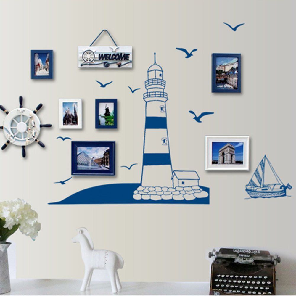 Removable wall sticker pvc blue sailing boat tower photo for Diy photographic mural