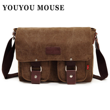 YOUYOU MOUSE Canvas Bags Vintage Messenger Bags Men's Shoulder Bag Multifunctional Casual Fashion School Bags Men Crossbody(China (Mainland))