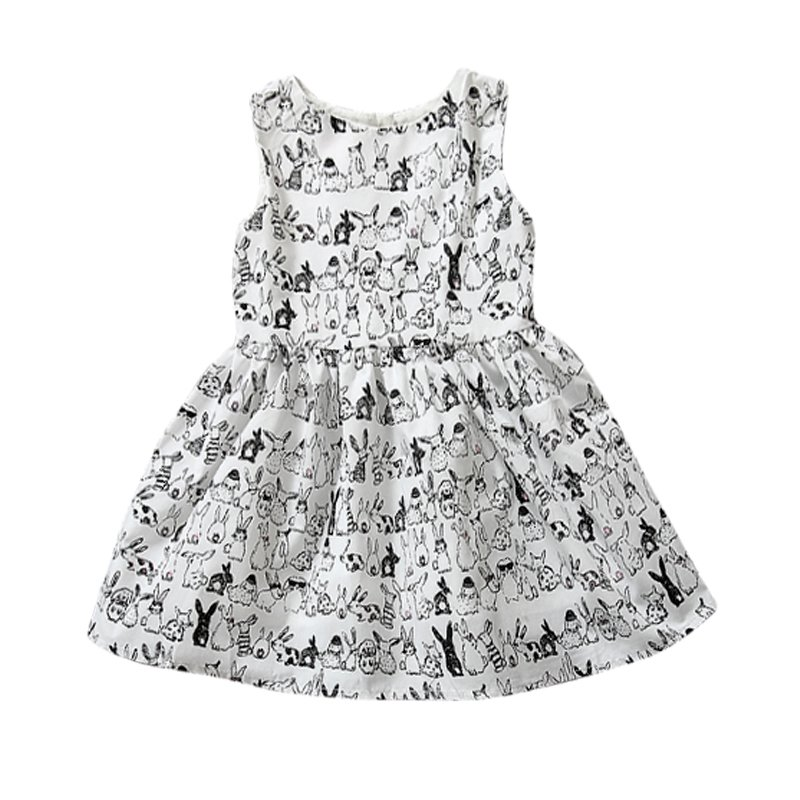 Baby Girl Sleeveless Cartoon Dress Infant White Bunny Rabbit Print Ball Gown Tutu Dress Casual Kids Easter Clothes New Arrival(China (Mainland))