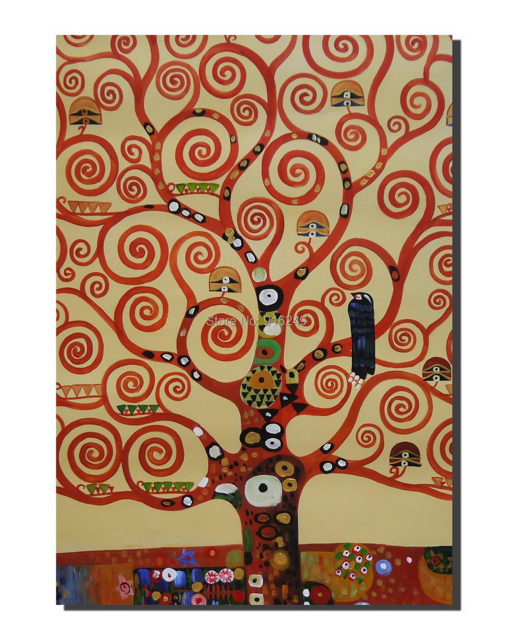 peint la main klimt la arbre de la vie sur toile klimt. Black Bedroom Furniture Sets. Home Design Ideas
