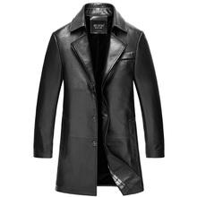 2015 New Sheep skin Genuine Leather Slim Windbreaker Men In the long section Coat JSH312(China (Mainland))