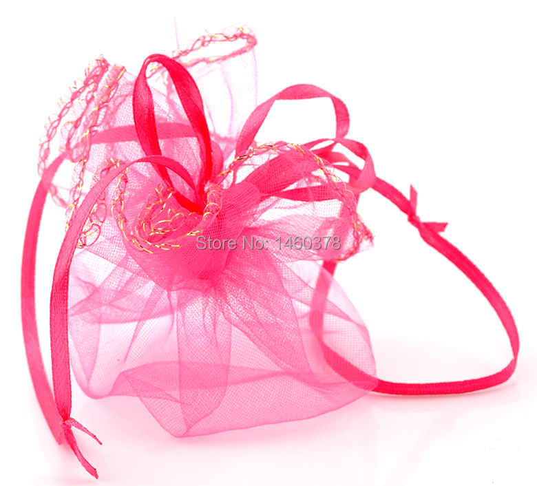Wholesale 200pcs 26cm/10inch diameter fuchsia colour round organza bag wedding pouch Christmas gift bag sweet bag(China (Mainland))