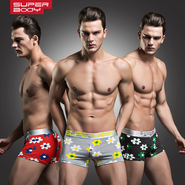 Men's fashion underwear cotton printed flower underpants button decorative pouch enhancing boxers for men(China (Mainland))