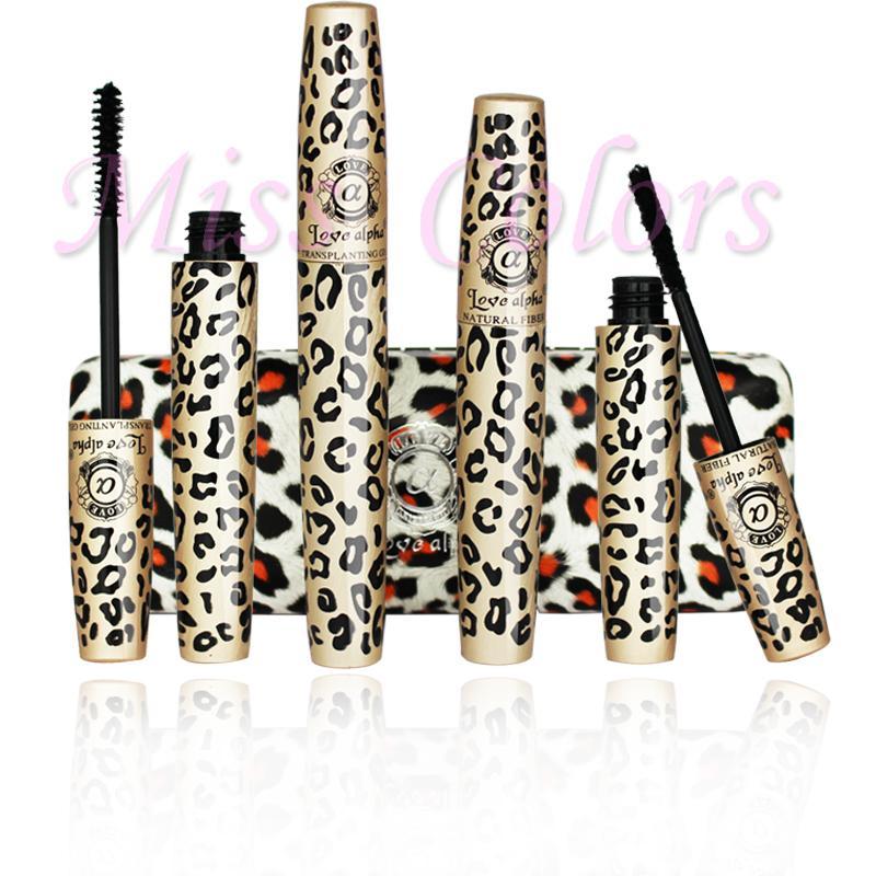 2Pcs/lot ALPHA Leopard Women Beauty Makeup Mascara Waterproof Cosmetics Eyelash Lengthening Mascara Natural Eye Lash(China (Mainland))