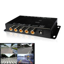 IR control 4 Cameras Video Control Car Cameras Image Switch Combiner Box for Front Rear Right view Left view Parking Camera box(China (Mainland))