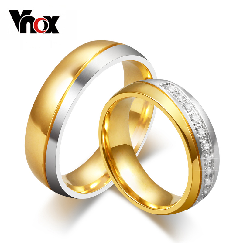 vnox classic wedding bands ring for women men gold color love promise jewelry anillos - Rings For Wedding