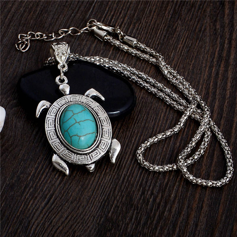 Hot Sale Fashion Vintage Tibetan Silver Turquoise Chain Link Necklace Tortoise Pendant Women Jewelry Accessories(China (Mainland))