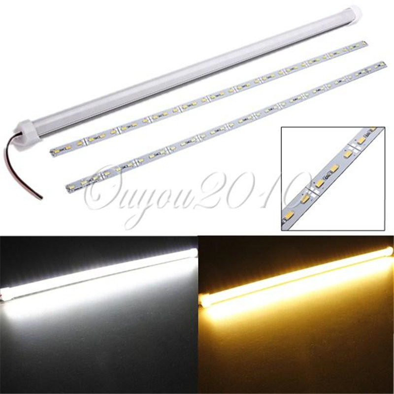 Free Shipping 50cm 9W 5630 SMD 36 LED Waterproof Rigid Strip Cabinet Bar Light Pure / Warm White With Cover For DC 12V(China (Mainland))