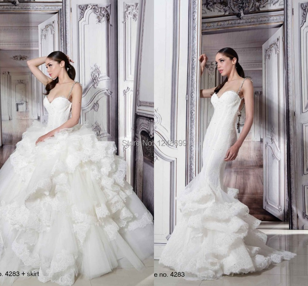 Exquisite full lace wedding dress court train detachable for Spaghetti strap backless wedding dress