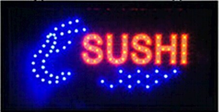 2016 hot sale 10X19 inch indoor Ultra Bright flashing led Sushi display sign(China (Mainland))