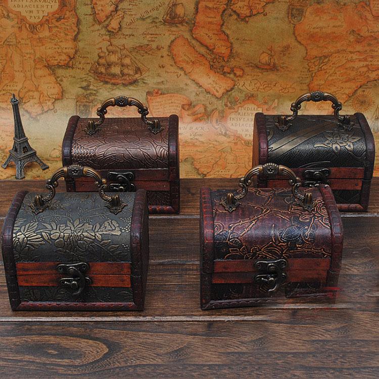 Vintage wood box,Metal Lock Jewelry Treasure Chest Case Manual Wood Box storage box Vintage storage jewelry box free shipping(China (Mainland))