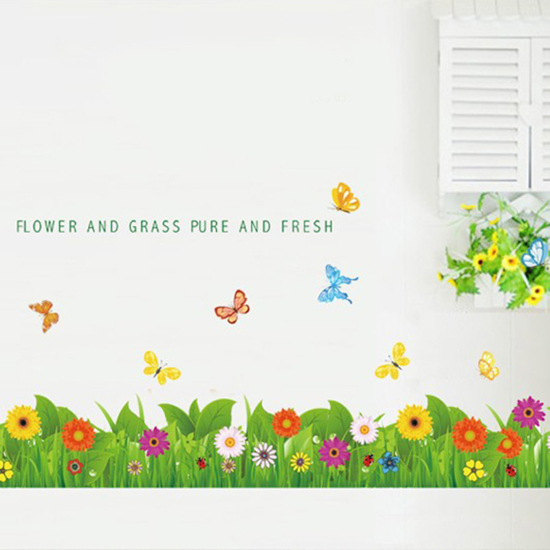Green Grass Flower Butterfly Nature Lovely Window Handdrawing Decal Vinyl Wall Sticker PVC Decor Decoration DIY Home Living Room