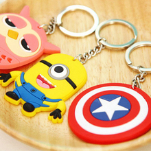 1Pcs Cartoon Minions Keychain Toy PVC Metal Ring Christmas Gift Birthday Action Figure Toy Spider-Man Hello Kitty Key Chain(China (Mainland))