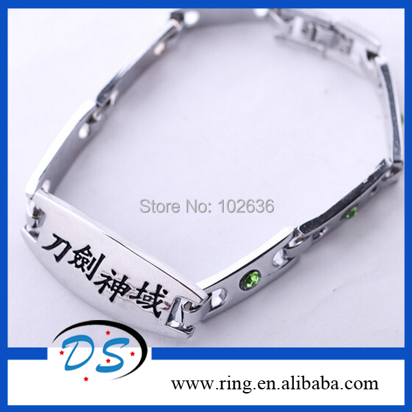 Wholesale -New arrival anime cosplay silver Sword Art online Bracelet alloy jewelry for man 12pcs/lot Free Shipping<br><br>Aliexpress
