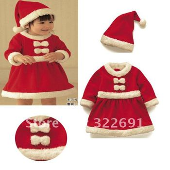 Free Shipping !Wholesale  children christmas long-sleeve dress with hat,    2012 Baby Children's Christmas clothing TZ111