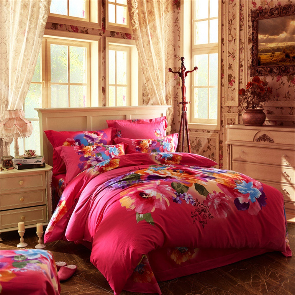 3d oil painting flowers bedding set queen size king size 100 cotton