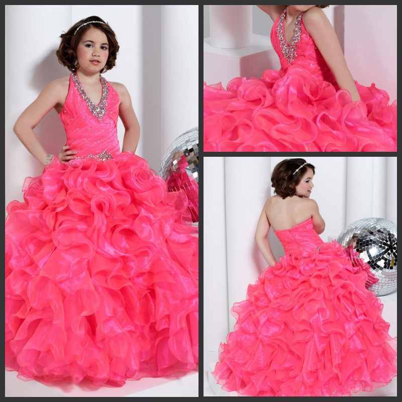 Kids wedding dress pink organza beading floor length for Pink ruffle wedding dress