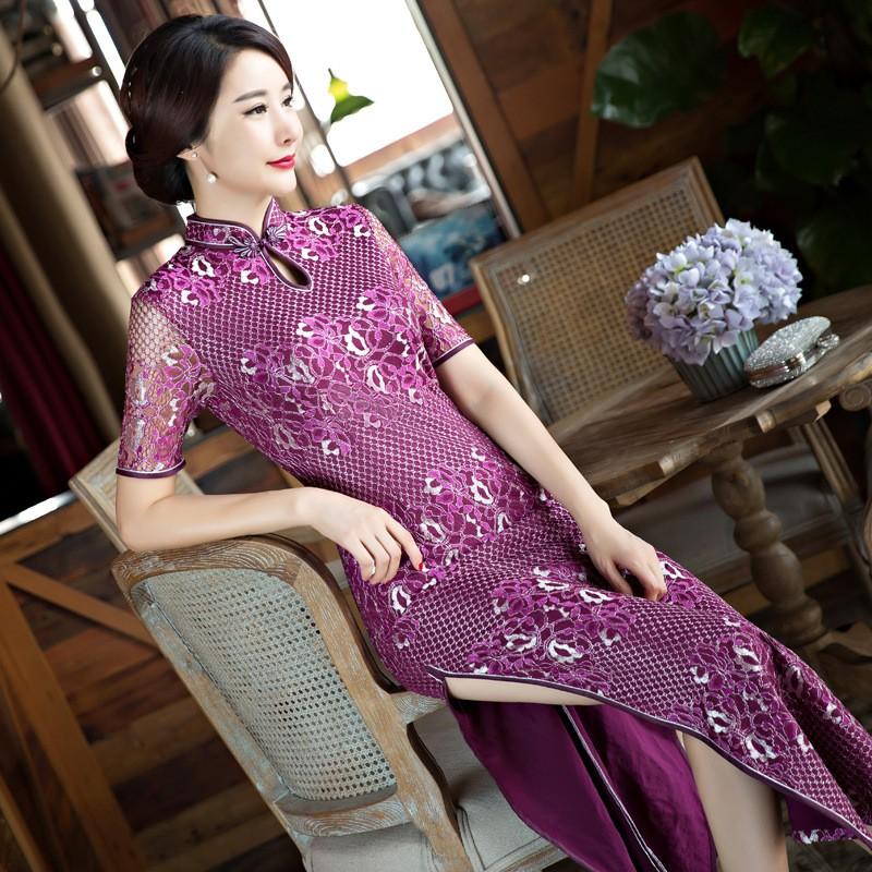 แห่งชาติของผู้หญิงลูกไม้Cheongsamแฟชั่นจีนสไตล์การแต่งกายที่สวยงามบางยาวพิมพ์QipaoขนาดSml XL XXL XXXL F090929 ถูก