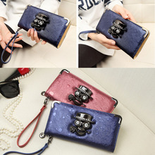 Fashion Women Metal Skull Pattern PU Leather Long Wallet Portable Casual Lady Cash ID Card Holder Purse Gifts Popular(China (Mainland))