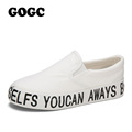 GOGC Women s Shoes with Letter Thick Bottom Platform Flat Canvas Shoes for Women Height Increasing