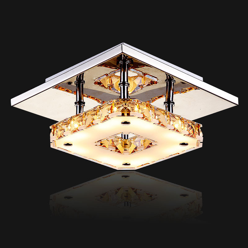 Luxury crystal 8w 16w Ceiling light Lamp AC85-265v for hallway bedroom/balcony/corridor LED Flush Mount 1 Light Ceiling Light(China (Mainland))