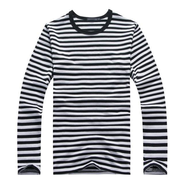 Mens Tee Shirts Fashion 2015 Striped Shirt Men Cotton Long