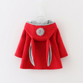 Cute Rabbit Ear Hooded Jackets Girls Coat Spring Autumn Kids Jacket Outerwear Children Clothing Baby Tops