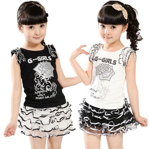 Hot Summer Child Baby Girls Set Fashion Sleeveless T-shirt + Short Skirt Kids Rose Clothes Children Clothing Sets(China (Mainland))
