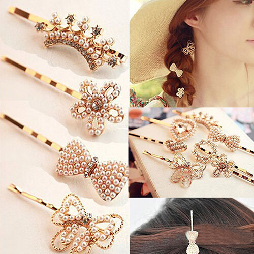Womens Hairpin Pearl Heart Beauty Barrette Lady Crystal Rhinestone Hair Clip Bow Chic Golden Accessories(China (Mainland))