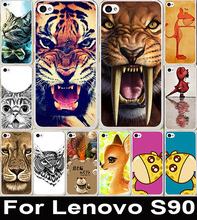 Popular Hot Animal Pattern Lion Tiger Owl Painting Case Cute Colored Drawing Hard Plastic For Lenovo S90 Cell Phone Cover