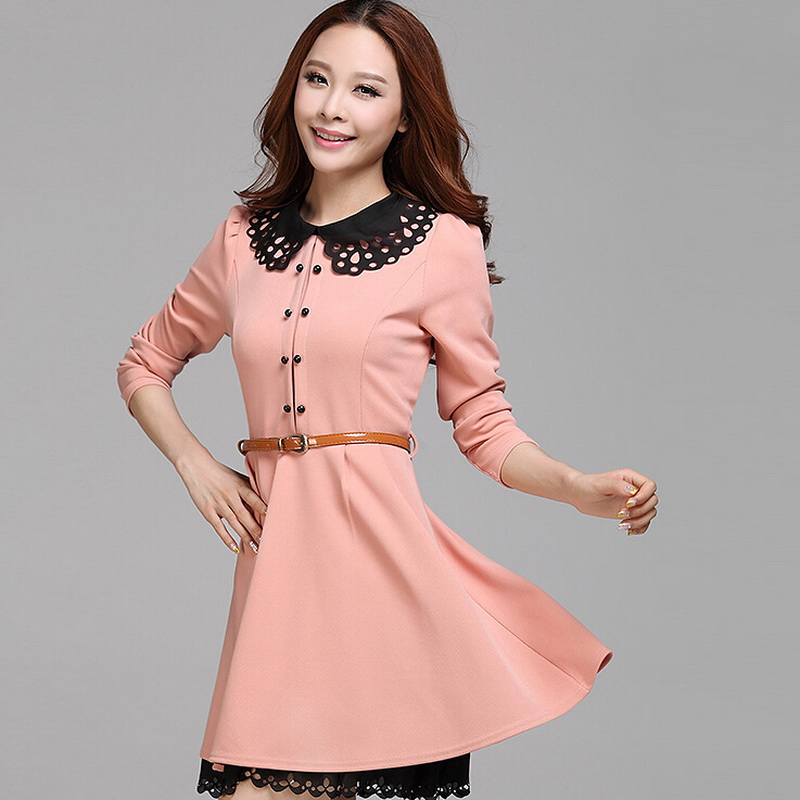New Fashion Women Clothing 2015 Latest Long Sleeve Slim Female Dress Knitting Cute Elegant Frock