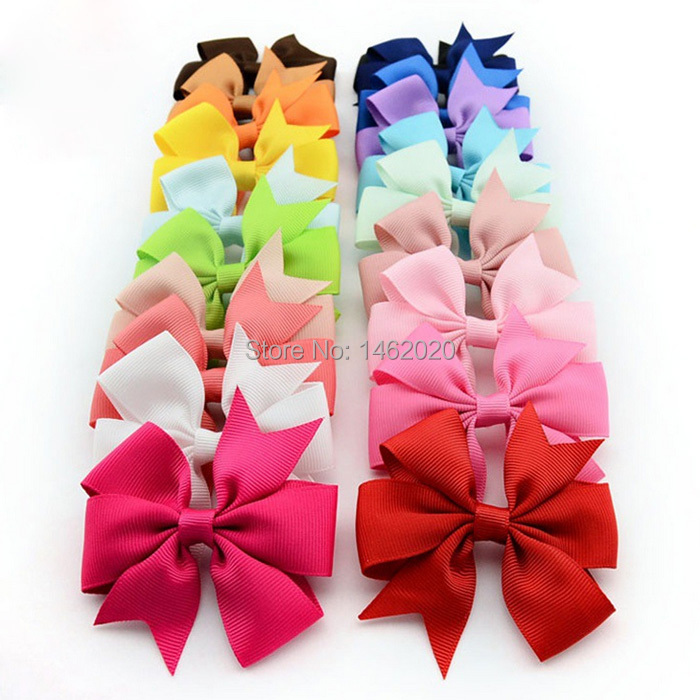 NEW baby grosgrain Satin Dovetail Ribbon Hair Pin wheel Bows with Duckbill clip Girls' hair accessories boutique bows(China (Mainland))