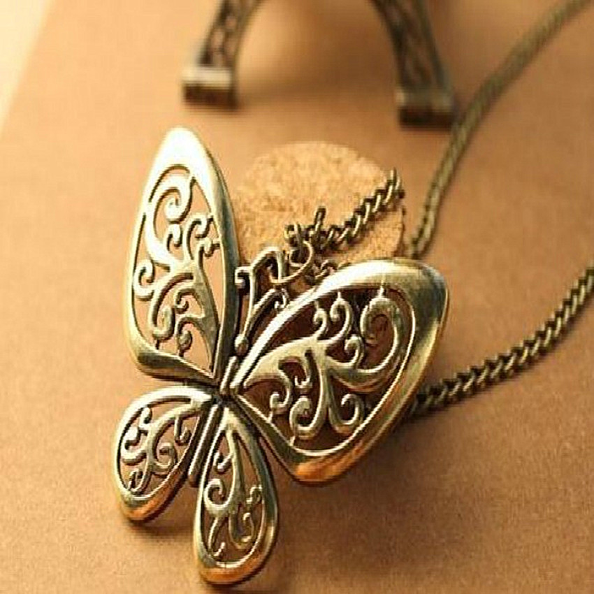 2015 Brand designer Fashion Jewelry Retro style Hollow metal pattern Pendant Butterfly necklace pendant - Shenzhen SIJIE Clothing Trade Development Co., Ltd. store