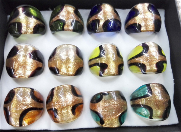 12pcs Mixed Style Vintage Italian Gold sand Statement Ring Hand Blown Murano Lampwork Glass Rings Gorgeous Domed Mount Jewelry(China (Mainland))